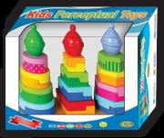 الحجوم والأشكال الهرمية الملونة مع البطاقات المصورة