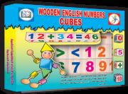 المكعبات الخشبية للأعداد الإنكليزية مع البطاقات المصورة